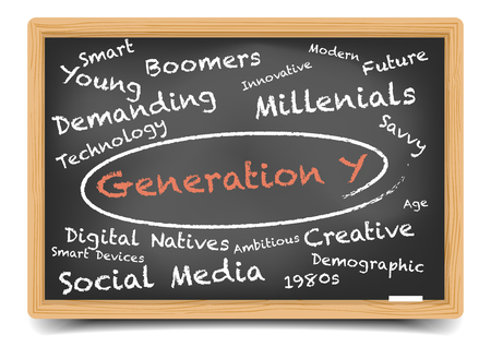 generation y: detailed illustration of a Generation Y wordcloud on a blackboard,   vector, gradient mesh included Illustration