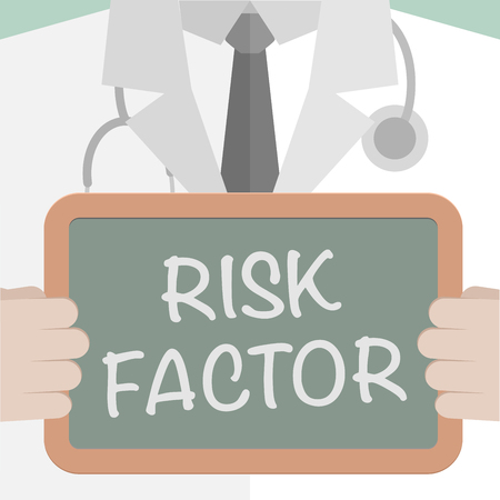 minimalistic illustration of a doctor holding a blackboard with Risk Factor text,  vector