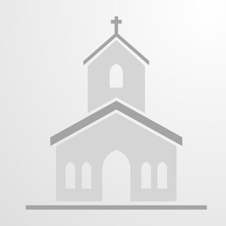 minimalistic illustration of a Church Icon,   vector Illustration
