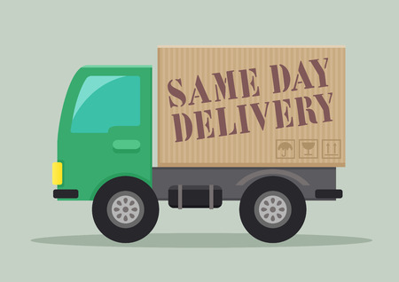 ship order: minimalistic illustration of a delivery truck with Same Day Delivery label,  vector Illustration