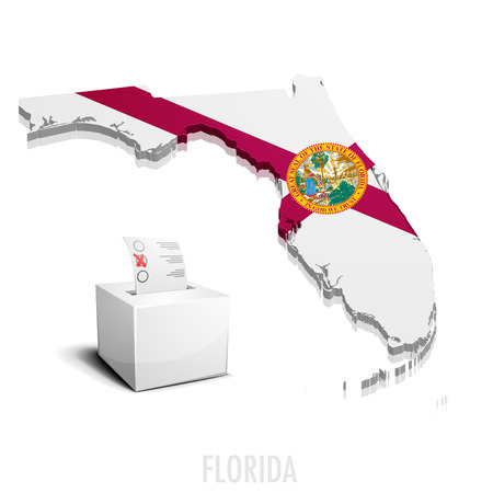 tallahassee: detailed illustration of a ballotbox in front of a map of Florida,  vector