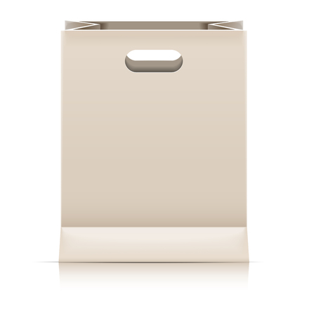detailed illustration of a blank paperbag packaging template,  vector