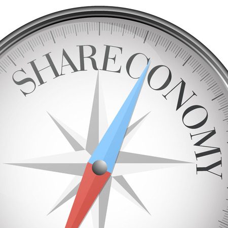 participation: detailed illustration of a compass with Shareconomy text,  vector Illustration