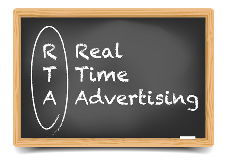 rta: detailed illustration of a blackboard with Real Time Advertising text,  vector, gradient mesh included Illustration