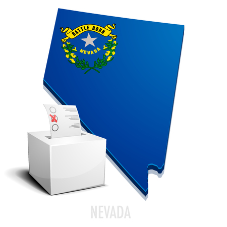 state boundary: detailed illustration of a ballotbox in front of a map of Nevada,  vector