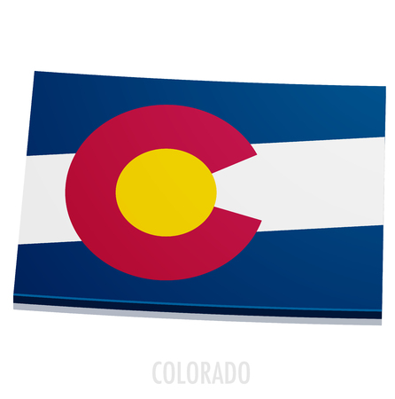 state boundary: detailed illustration of a map of Colorado with flag,  vector
