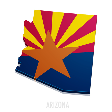 detailed illustration of a map of Arizona with flag, vector