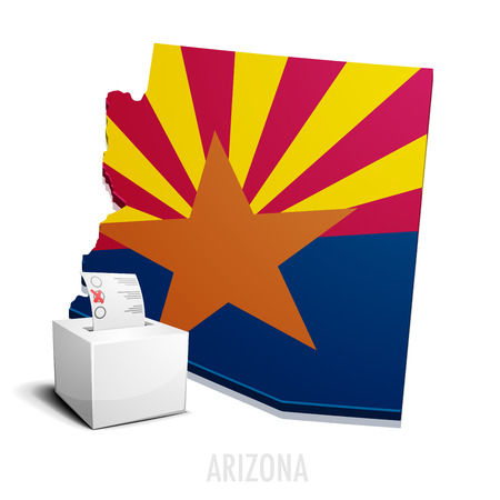 arizona: detailed illustration of a ballotbox in front of a map of Arizona