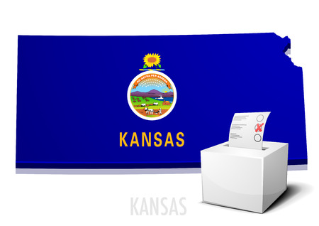 detailed illustration of a ballotbox in front of a map of Kansas Illustration