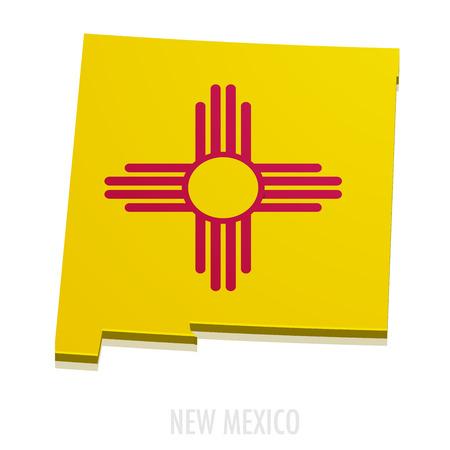 gedetailleerde illustratie van een kaart van New Mexico met vlag Stock Illustratie