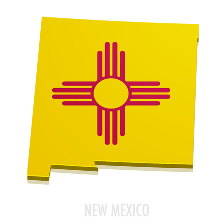 detailed illustration of a map of New Mexico with flag Vettoriali
