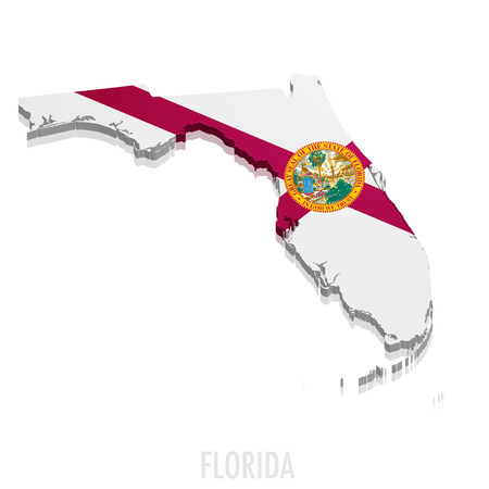 miami florida: detailed illustration of a map of Florida with flag