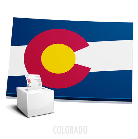 denver colorado: detailed illustration of a ballotbox in front of a map of Colorado