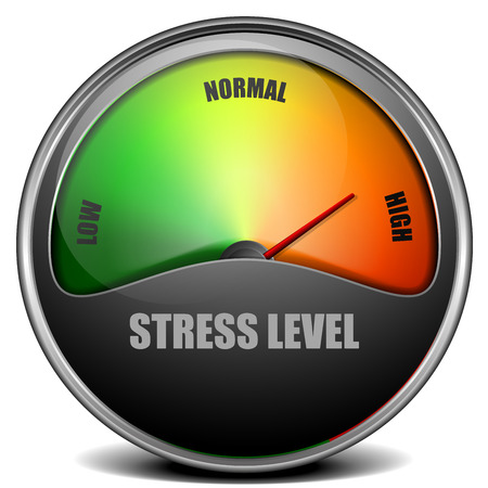 stressed out: illustration of a Stress Level Meter gauge