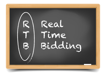 the writing: detailed illustration of a blackboard with Real Time Bidding term explanation, unkreatives vector, gradient mesh included