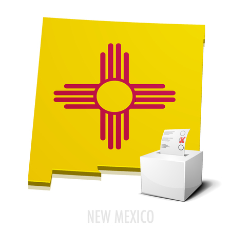 political: detailed illustration of a ballotbox in front of a map of New Mexico,  vector