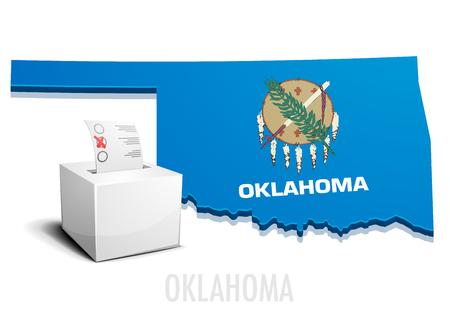 conceptual maps: ilustraci�n detallada de una urna delante de un mapa de Oklahoma, vector