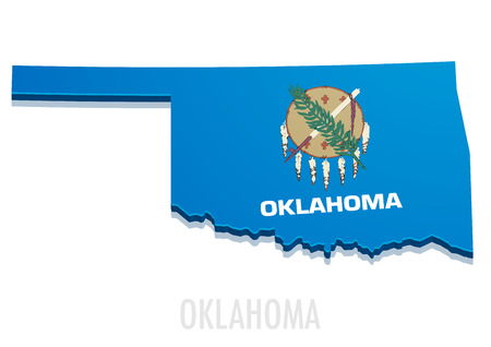 state: detailed illustration of a map of Oklahoma with flag,  vector
