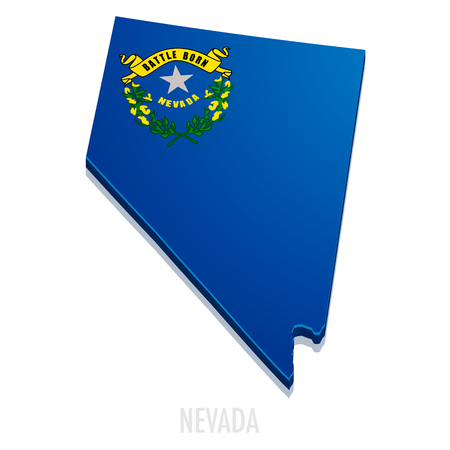 state boundary: detailed illustration of a map of Nevada with flag,  vector Illustration