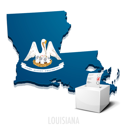 politics: detailed illustration of a ballotbox in front of a map of Louisiana,  vector