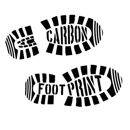 detailed illustration of shoeprints with carbon footprint text, eps10 vector Illustration