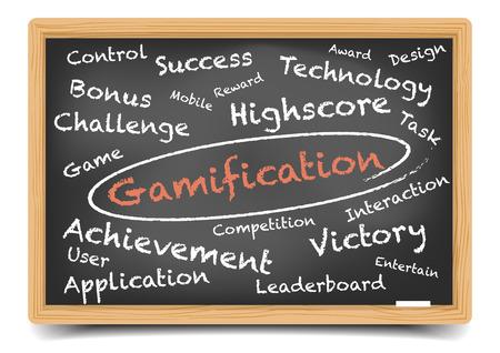 gedetailleerde illustratie van een Gamification wordcloud op een schoolbord, eps10 vector, verloopnet opgenomen