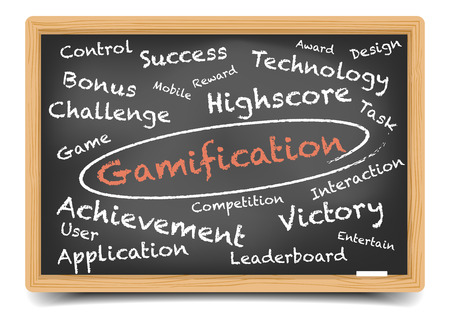 detailed illustration of a Gamification wordcloud on a blackboard, eps10 vector, gradient mesh included