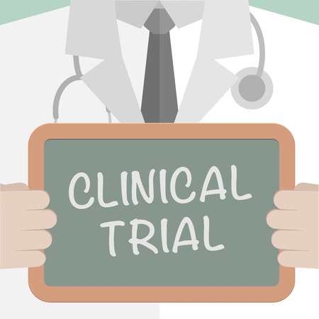 minimalistic illustration of a doctor holding a blackboard with Clinical Trial text