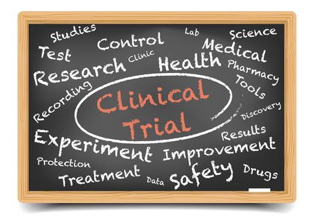 clinical trial: detailed illustration of a Clinical Trial wordcloud on a blackboard, , gradient mesh included