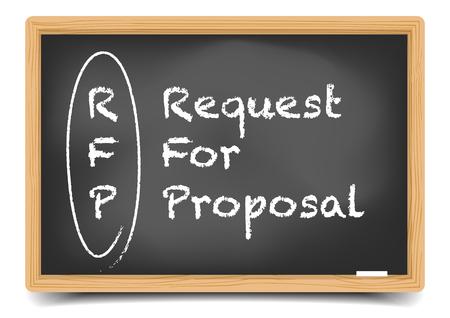 gedetailleerde illustratie van een bord met Request for Proposal termijn uitleg, eps10 vector, verloopnet opgenomen