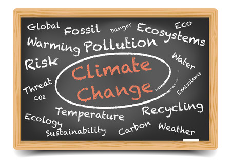detailed illustration of a Climate Change wordcloud on a blackboard, eps10 vector, gradient mesh included Vectores
