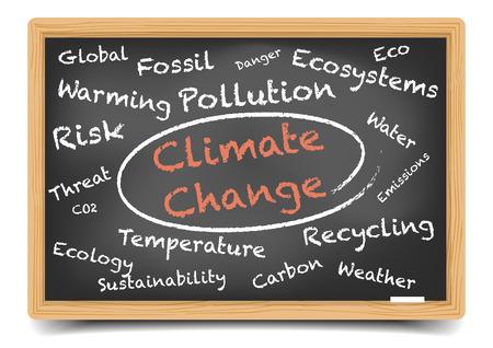 gedetailleerde illustratie van een klimaatverandering wordcloud op een schoolbord, eps10 vector, verloopnet opgenomen