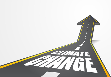 going up: detailed illustration of a highway road going up as an arrow with Climate Change text, eps10 vector Illustration