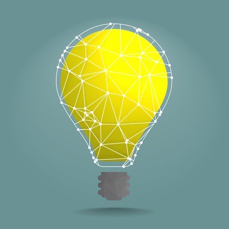 low light: detailed illustration of polygonal lightbulb with white network around it, eps10 vector