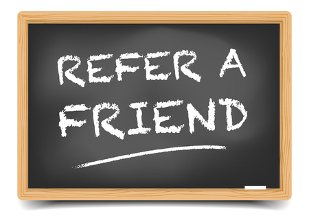 refer: detailed illustration of a blackboard with Refer a Friend text, eps10 vector, gradient mesh included
