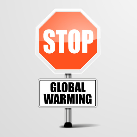 stop global warming: detailed illustration of a red stop Global Warming sign, eps10 vector