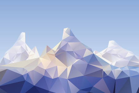 low poly: detailed illustration of a low poly mountain scenery Illustration