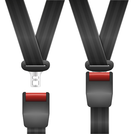 detailed illustration of an open and closed seat belt