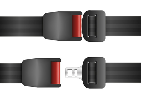 detailed illustration of an open and closed seatbelt