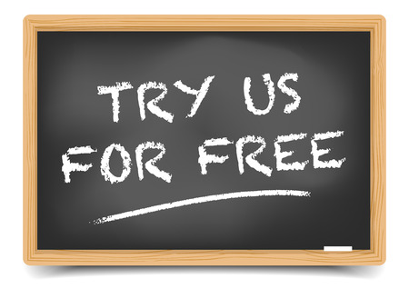trial: detailed illustration of a blackboard with Try for Free text