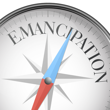 emancipation: detailed illustration of a compass with Emancipation text