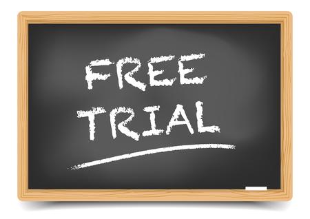 gedetailleerde illustratie van een bord met de tekst Free Trial