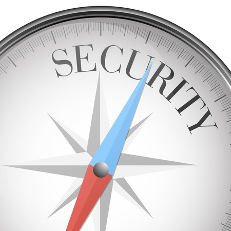 precaution: detailed illustration of a compass with Security text