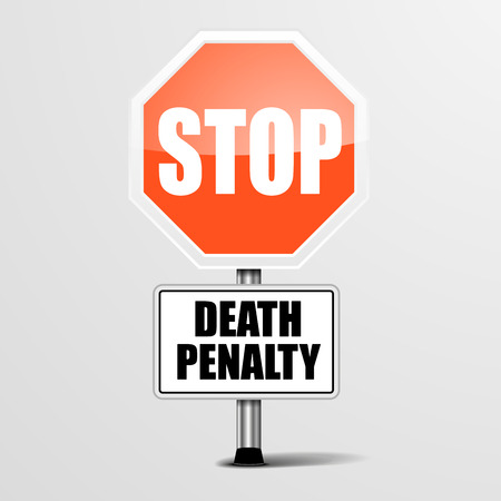 capital punishment: detailed illustration of a red stop Death Penalty sign