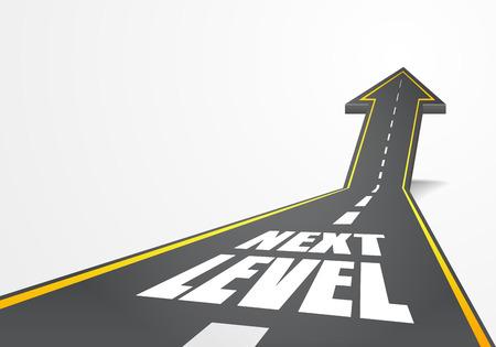gedetailleerde illustratie van een snelweg weg naar boven als een pijl met Next Level tekst