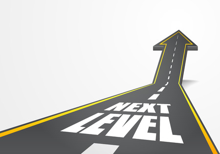 detailed illustration of a highway road going up as an arrow with Next Level text