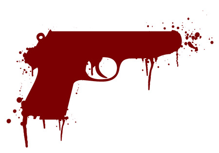 handgun: illustration of a handgun with blood splatter