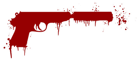 handgun: illustration of a handgun with silencer covered in blood splatter