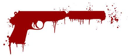 defence: illustration of a handgun with silencer covered in blood splatter