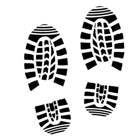 szczegółowych ilustracji prostych wydruków obuwia Ilustracje wektorowe